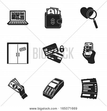 E-commerce set icons in black style. Big collection of e-commerce vector symbol stock