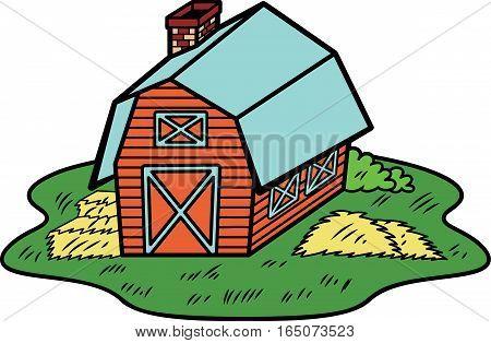 Barn House Illustration. Farm Building Vector Cartoon.