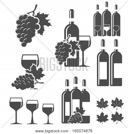 Set of wine signs, badges and labels. Vector Illustration