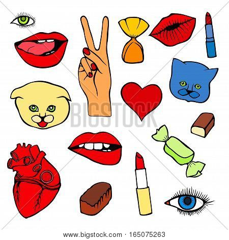 Lips, eye, smile, hearts, hands. Sticker, patch set collection. Vector artwork. Fashion badges. Wallpaper. Vintage, retro concept. Black and white stripes, red, blue, purple color