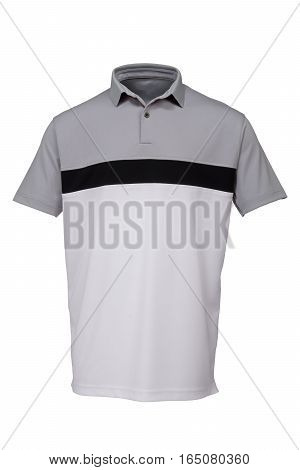 Grey black and white golf tee shirt for man on white background