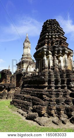Closeup Angled View Historical Pagoda Wat Chedi Seven Rows Sukhothai