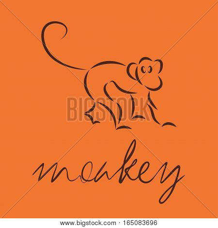 Silhouette of a monkey, template logo design. Vector illustration eps10