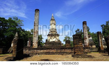 Historical Pagoda Wat Chedi Seven Rows Temple Landscape