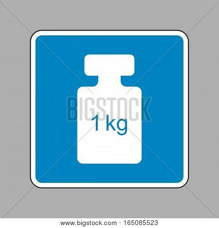 Weight Simple Sign. White Icon On Blue Sign As Background.