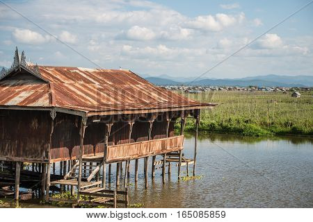 The floating temple at Inle lake one of the most tourist attraction place in Myanmar.