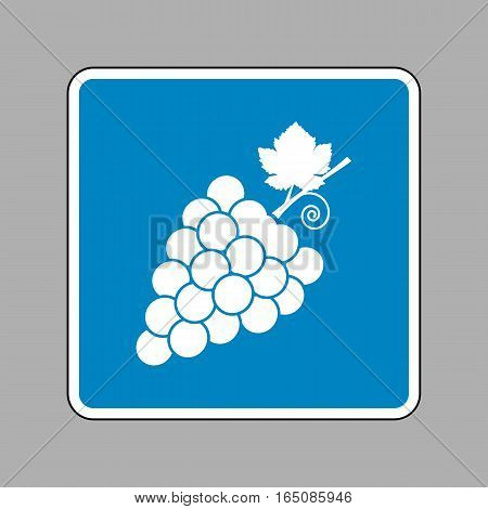 Grapes Sign Illustration. White Icon On Blue Sign As Background.