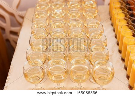 Many Glasses Of White Wine Ready For A Banquet.