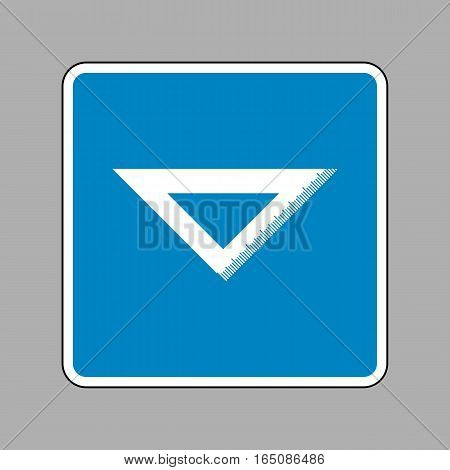 Ruler Sign Illustration. White Icon On Blue Sign As Background.