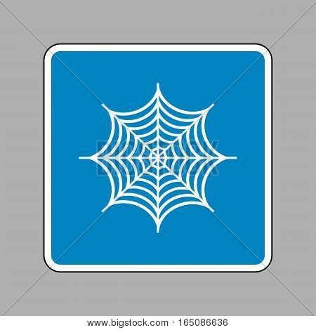 Spider On Web Illustration. White Icon On Blue Sign As Backgroun