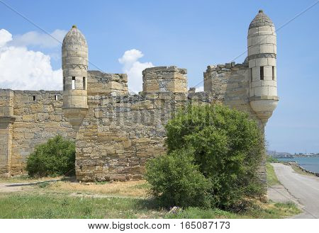 View of the corner Bastion of the fortress Yeni-Kale. Kerch, Crimea