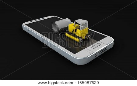 Bulldozer Cleans Old Screen. Screen Protect Glass Concept. Mobile Accessory. 3D Illustration. Isolat