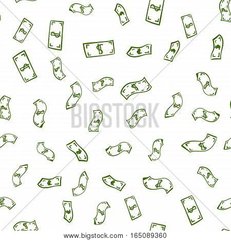 Simple seamless money pattern isolated on white for site background, banners, promotion