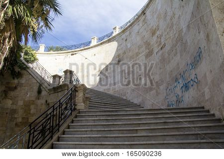 Cagliari: Staircase inside the Bastion of Saint Remy in the district Castello - Sardinia