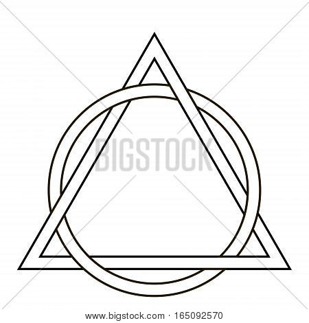 circle weave triangle tattoo, triangle interwoven with the sides of the circle, vector template tattoo