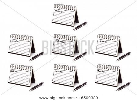 The Seven Days of the Week Spiral Note Pads and Pen Isolated on White - XXXL.