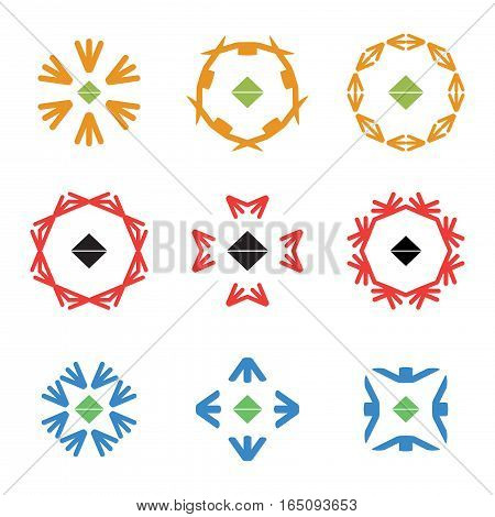 abstract red blue orange arrow color icon logos set,vector Illustration EPS10