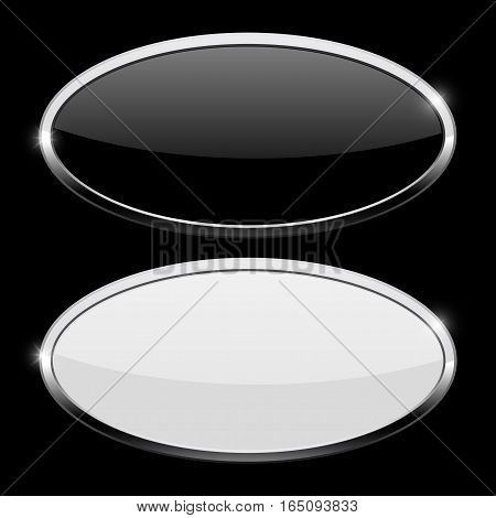 Oval button with chrome frame. Web icons on black background. Vector illustration