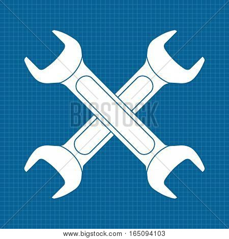 Wrench icon. Vector illustration on blueprint background
