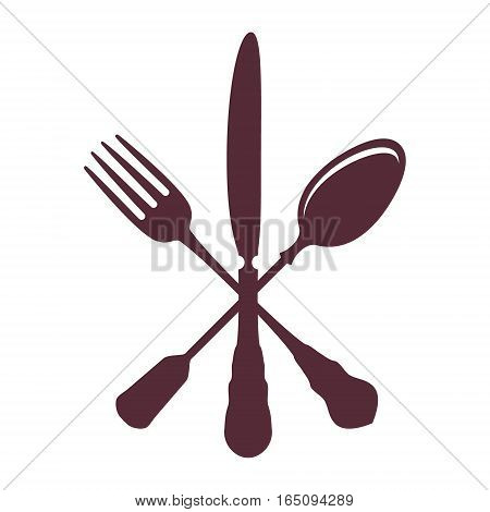 Crossed Spoon with Fork and knife isolated on white Background vector illustration