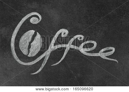 Hand Drawn Lettering Inscription Coffee and Bean on Black Slate for Restaurant Cafe Bar Coffeehouse and Coffee Shop. Vintage Retro Style.