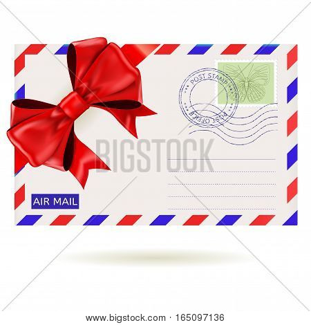 Air mail envelope with red ribbon bow. Vector illustration isolated on white background