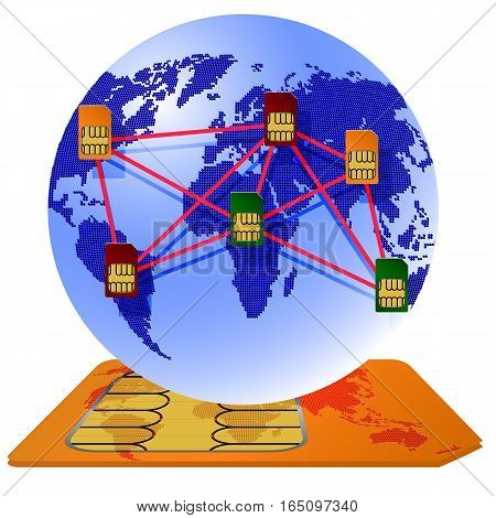 The Globe Sim card connecting continents vector