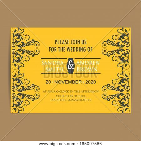 Wedding vintage invitation card or announcement. Vector illustration