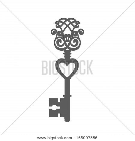 Vintage Key Silhouette isolated on white background vector illustration