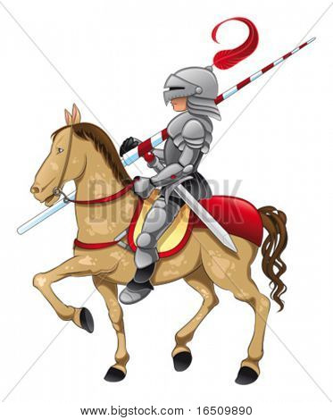 Knight and horse. Funny cartoon and vector characters. Isolated objects