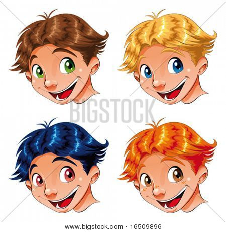Child Smile. Funny cartoon and vector characters.