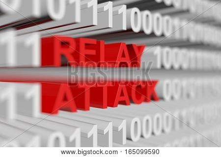Relay attack in the form of a binary code with blurred background 3D illustration
