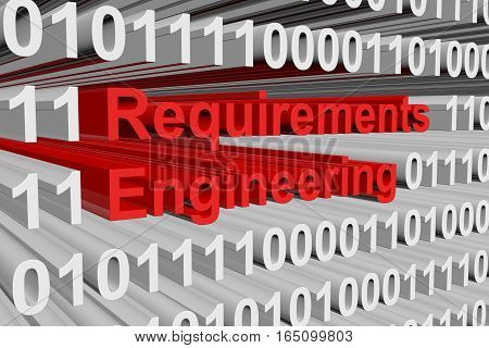 Requirements Engineering in the form of binary code, 3D illustration