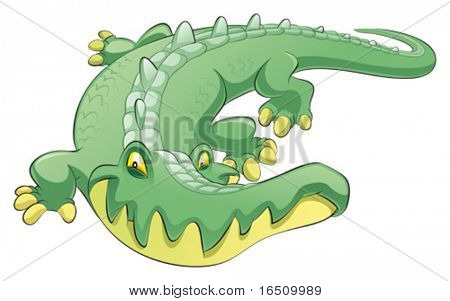 Crocodile. Funny cartoon and vector character