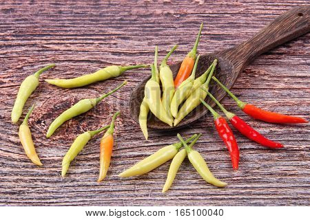 Bird Chili, Asian Spicy And Hot Chili Pepper,as  Prik Kalean