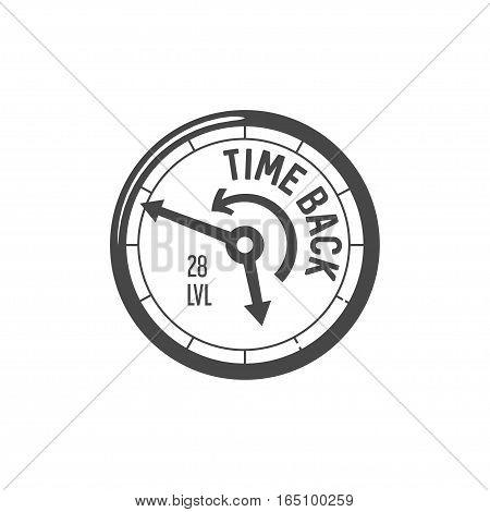 Vector speedometer Icon, time back lettering, vector illustration logo