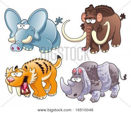 Animales prehistóricos. Divertidos dibujos animados y vector aislaron caracteres