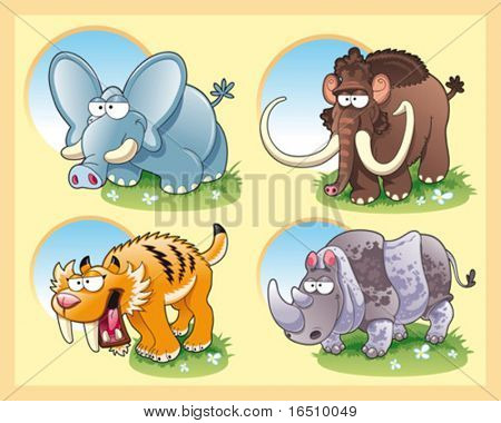 Prehistoric animals with background