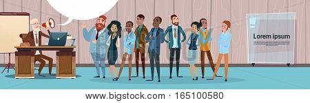 Businessman Boss Hold Megaphone Loudspeaker Colleagues Mix Race Business People Team Group Flat Vector Illustration