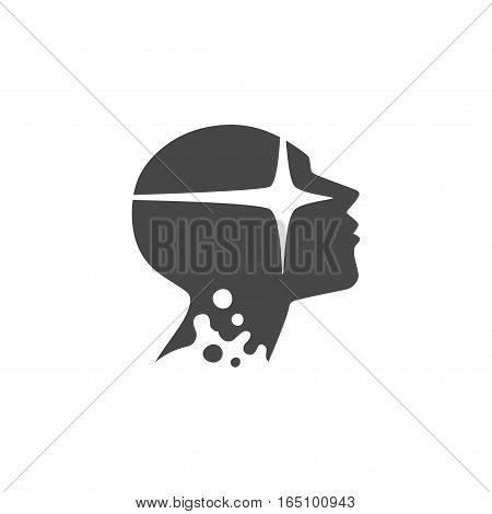 enlightenment head profile silhouette, isolated vector illustration logo