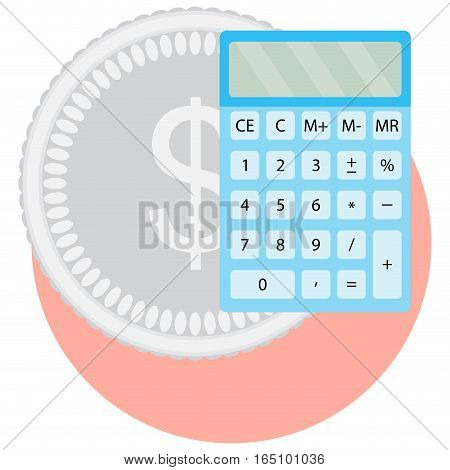 Calculator and money. Finance counting income banking cash vector illustration