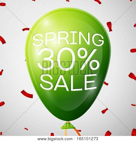Green Balloon with 30 percent Discounts. SALE concept for shops store market, web and other commerce. Vector illustration.