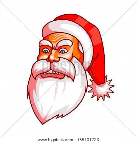 Santa claus emotions. Part of christmas set. Ready for print. Rage, rampage, anger EPS10