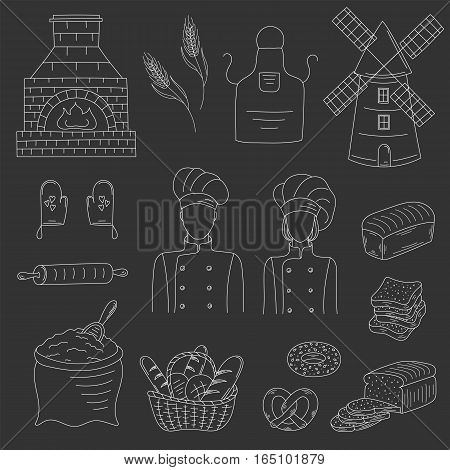Bakery collection with bakers in chief uniforms, old brick oven, wheat, mill, flour, kitchen apron and gloves, basket of various bread. Hand drawn doodle style vector illustrations isolated on black.