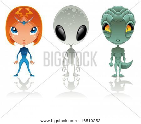 Types of aliens. Funny cartoon and vector characters