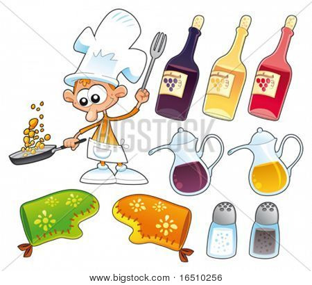 Cook and kitchen objects. Cartoon and vector illustration, isolated items
