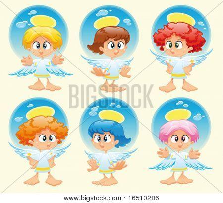 Familie der Engel mit Hintergrund