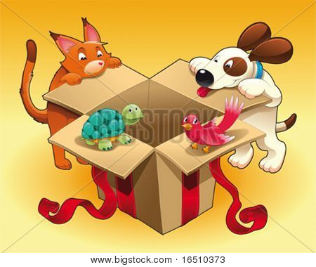 Gift and pets. Funny cartoon and vector scene. Isolated objects