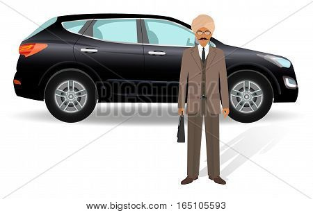 Business people concept. Indian businessman standing on a luxury car background. Flat style vector illustration.