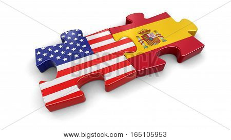 3D Illustartion. USA and Spain puzzle from flags. Image with clipping path